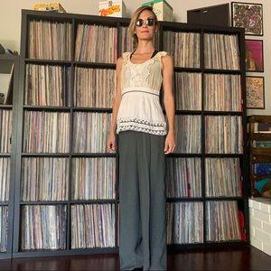 lovely silk lace blouse apron XS romantic femme
